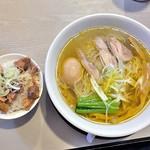 55221037 - しおそば + 味玉 & 肉めし(2016年8月)