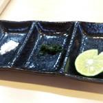 らぁ麺屋 飯田商店 - つけ麺薬味