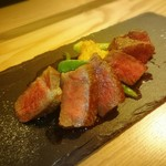Peek a boo Cafe - うちひらとサーロインのステーキ