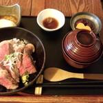 いろり家 - 足柄牛のステーキ丼(1650円)