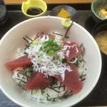 魚彩 銀の鯛 - まぐろ、釜揚げしらす丼 (2014,10)