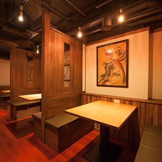 ③【和モダン雰囲気漂う店内】宴会や接待…お食事会にテーブル席