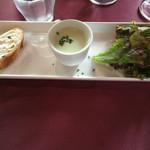 55262614 - 名物ラザニアセット/プチサラダに、プチスープ、プチバゲットとどれも美味しいです。冷製スープが特に。