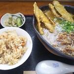 そば商店 おおくま - 肉ごぼうそば セット<税込>780円(2016.08.22)