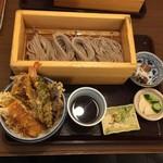 蕎膳 楽 - 【2016.8.22】天丼とおそばのお膳¥1000