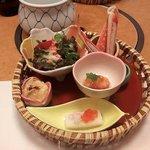かに道楽 - 前菜 籠盛り五種(2016.8)