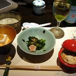 553295 - 嶺岡豆腐、お浸し、湯葉煮