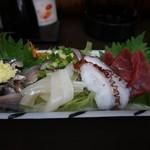 天ぷら漁火亭 - 刺身・わっぱ飯定食(¥1,500-)の刺身