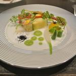 アキヒサ ハンダ - 芦別野菜のテリーヌ 胡瓜のヴィネグレットソース