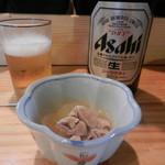 鳥と魚 - お通し&ビール