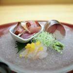 みくり - 金目鯛の炙り 鯵の押し寿司 キスと生からすみ