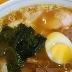 大勝軒 - スープが多く、チャーシュー、ナルオは沈下。2016.8