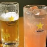 ホルモン・ジンギスカン たたら - 札幌生ビール(中)480円