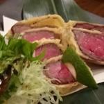 kasane - ◆ローストビーフの天ぷら・・これは初体験。わさびを付けていただくと美味しい。