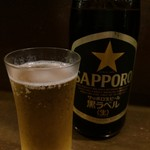 麺屋しらかわ - ドリンク写真:昼は出さないビール、今回は夜なのでいただきます(2016.8.25)