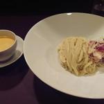 55337749 - エビつけ麺(オマールエビの冷たいスープで)