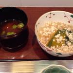 55340745 - 煮物椀(冬瓜と南瓜の鶏そぼろ餡掛け)、味噌汁