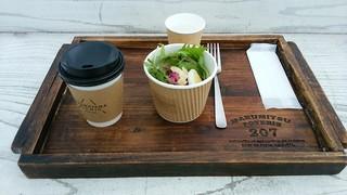 足羽山デッキ - 今回の私のモーニング:ハーブティー(ホット)&カップサラダ