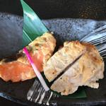 村民食堂 - 豚肉と信州サーモンの粕味噌焼きアップ('16/08/29)
