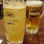 ちょこっと屋 - 2016/8 「雨後の月 にごり梅酒 ¥600 ソーダ割り」「生ビール ¥500」