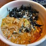 ら麺のりダー - 「岩のりライスわり」に「坦々つけ麺(辛さレベル2号)」の付け汁をかけて(2016年8月)