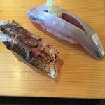 寿司源 藤沢大庭店 - 炙りかます165円       いわし105円