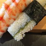 寿司源 藤沢大庭店 - 海老、子持ち昆布