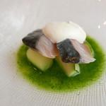 55382999 - 鯖のマリネと緑のガスパチョ