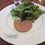 55400694 - 本日の前菜:南瓜とポロねぎ入り肉のパテ