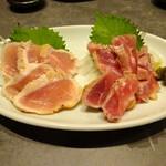 かわ屋 - 古処鶏のタタキ2種盛り合わせ