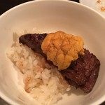 SATOブリアン - ウニ乗せブリ飯の松茸ご飯バージョン2016.8