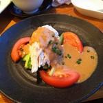 チャイナテーブル - 1608 チャイナテーブル千里中央 蒸し鶏の胡麻ソース@650円