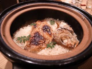 磯一 新大阪店 - 名物・天然のど黒土鍋めし 要予約メニューでした。