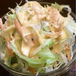 ナマスカール - サラダ。よく見るとパパドらしきものが。