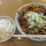大喜 - チャーシューラーメン小+生玉子+ライスです。