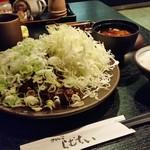 55459765 - どどんっとネギとキャベツの乗った「味噌かつ御膳 大 (1880円)」