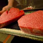 55463271 - 香川のオリーブ牛、佐賀の佐賀牛をいただきました。