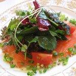 レ・ポム - ランチ:前菜(サーモンサラダ風?)*料理名は忘れました。m(_ _)m;;;