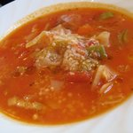 レ・ポム - ランチ:スープ(友達がオーダーした野菜たっぷりのスープ)