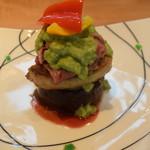 料理 吉祥寺 わるつ - 丸茄子とフォアグラと和牛のミルフィーユ仕立て、アボカドソースで