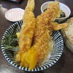 京雀 - 海老天丼とざるうどんのセット 1200円
