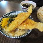 京雀 - 穴子天丼とざるうどんのセット 1200円