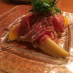 55586053 - 生ハム マンゴー 桃 ゴルゴンゾーラムース 胡桃の冷菜