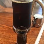 カフェサボイヤ - アイスコーヒーのガムシロが黒い