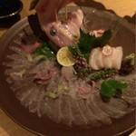 Nurukansatou - カワハギ丸々一匹のお造り!             肝付!美味しい!!