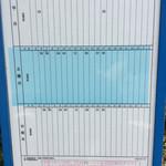 西脇大橋ラーメン - 【おまけ写真】帰りの時間をチェック。(神姫バス「西脇小学校前」の西脇市駅方面行きの時刻表)