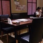 橙 - テーブル席・奥で高校生が会食中。