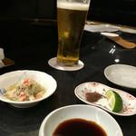 55650533 - ビール、まずはずわいガニの酢の物♤美味い