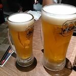 焼肉モランボン - 男気生ビール+生ビール(中)