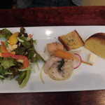 55663056 - パスタセットの農園サラダ、プチ前菜、パン